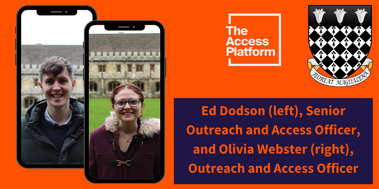 Portraits of Magdalen College Oxford's Ed Dodson and Olivia Webster