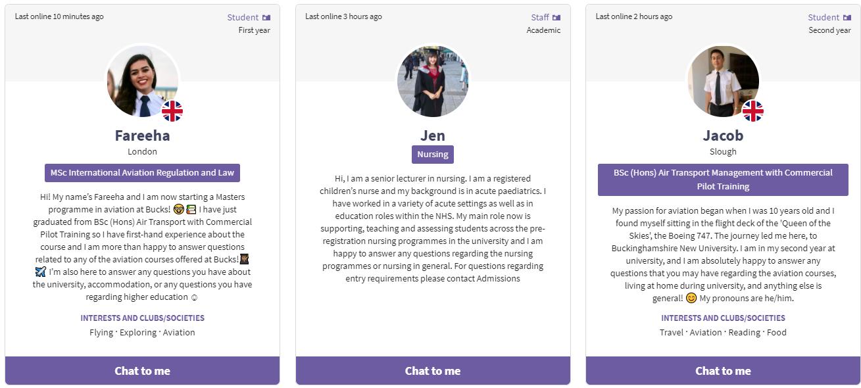 Screenshot of Bucks New University's student profiles